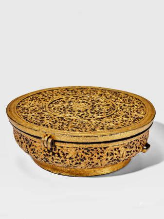 A GOLD DAMASCENED IRON BOWL CASE DERGE, EASTERN TIBET, CIRCA 15TH CENTURY