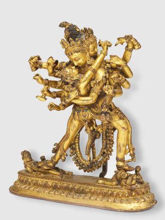 A GILT COPPER FIGURE OF CHAKRASAMVARA  NEPAL, 15TH/16TH CENTURY