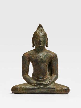 A COPPER ALLOY FIGURE OF BUDDHA SRI LANKA, ANURADHAPURA PERIOD, 8TH CENTURY