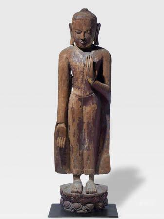 A WOOD FIGURE OF BUDDHA MYANMAR, PAGAN PERIOD, 12TH/13TH CENTURY