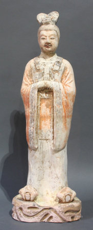 A Chinese Painted Terracotta Sculpture of a Civic Official