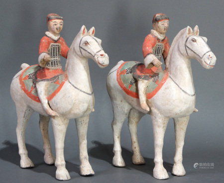 Chinese pair of terracotta figures of horse and rider