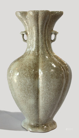 Chinese Guan-type lobed baluster vase