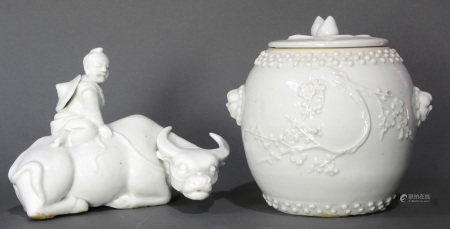 (lot of 2) Chinese Blanc de Chine porcelains