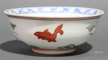 Chinese Iron-red and green enameled bowl
