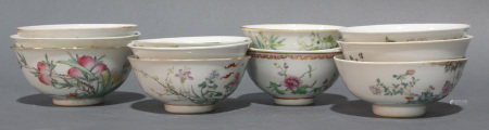 (lot of 12) Group of Chinese Famille Rose and iron red decorated porcelain bowls