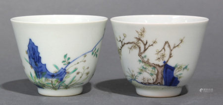Pair of Chinese famille-verte cups