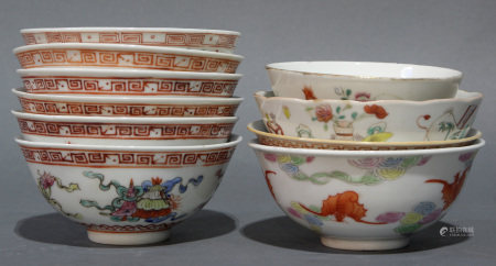 (lot of 10) Group of Chinese iron red and polychrome enamel decorated porcelain bowls
