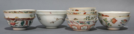 (lot of 11) Group of Chinese Famille Rose and iron red decorated porcelain bowls