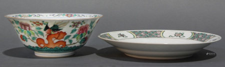 (lot of 2) Chinese Famille Rose or Verte dishes