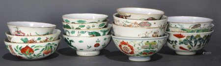 (lot of 14) Group of Chinese Famille Rose and Verte porcelain bowls