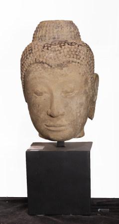 Southeast Asian sand stone Buddhist head