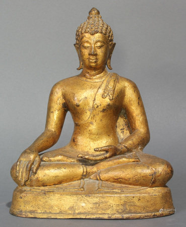 Thai Gilt Bronze seated gilt bronze Buddha