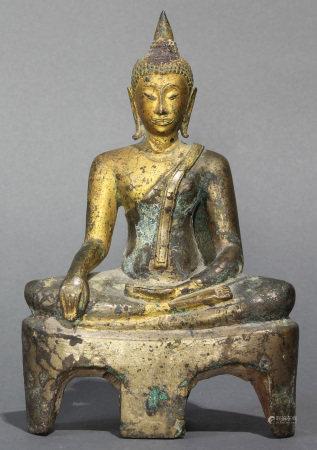 Thai Bronze seated Buddha statue from Sukothai area