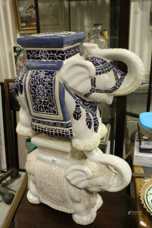 Two Oriental ceramic elephant seats.