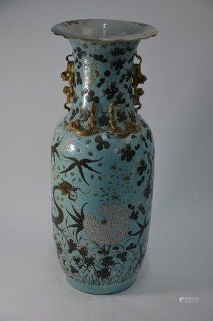 A 19th century Chinese Da Ya Zhai style turquoise ground vase, Guangxu period (1862-74)
