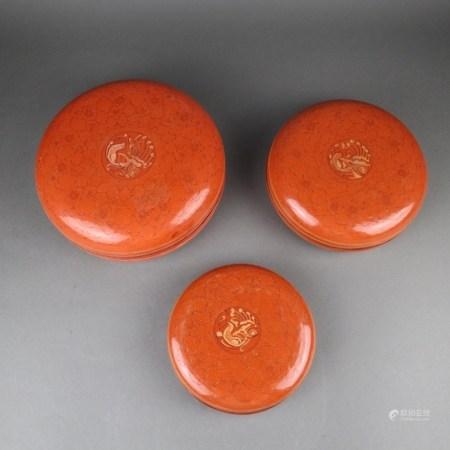 Lackschalen-Set - Burma frühes 20.Jh., 3 ineinander gestapelte Deckelschalen, mit Lotos-und