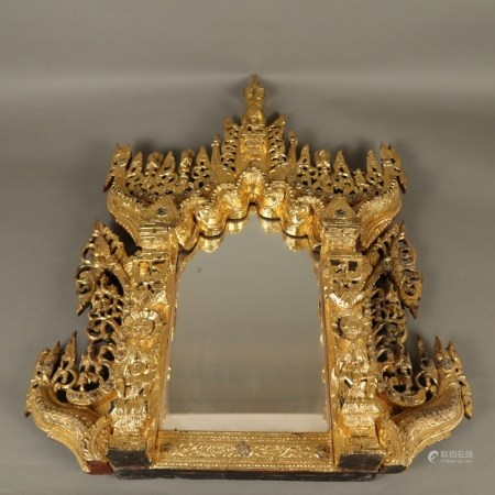 Spiegel mit üppig beschnitzter Prunkrahmung - Südostasien/Burma, 1.Hälfte 20.Jh., feine Teakholz-
