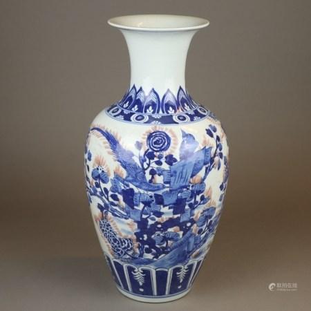 Balustervase - China, Bemalung in Unter-und Aufglasur mit Vogel auf blühendem Strauch sowie