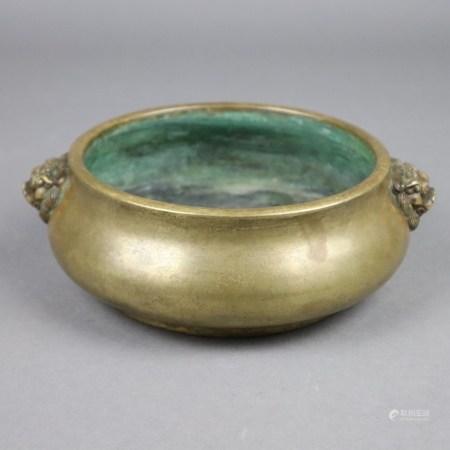 Runder Weihrauchbrenner - China, mittlere Qing-Dynastie, Bronze mit goldfarbener Patina,