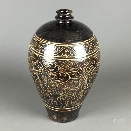 Große Cizhou-Vase im Song-Stil des 11.-13.Jhs - China, schwerer gebauchter Meiping-Typus,