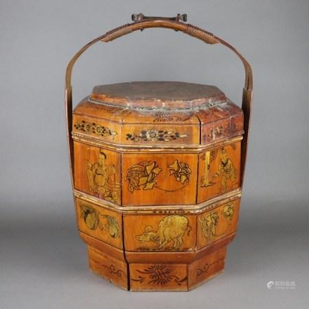 Essens-Tragekorb - China späte Qing-Dynastie, Bambus, achteckiger, zweiteiliger Holzbehälter mit