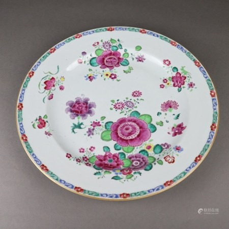 Famille-Rose-Platte - Exportporzellan, China, Qing-Dynastie, 18./19.Jh., mit polychromer