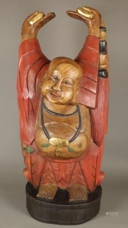 Großer Budai/Hotei mit Goldbarren in den Händen und an der Halskette - China 1.Hälfte 20.Jh.,
