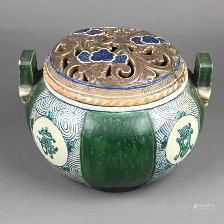 Räuchergefäß - China, späte Qing-Dynastie, Keramik in Form alter Bronzegefäße gearbeitet, bauchige
