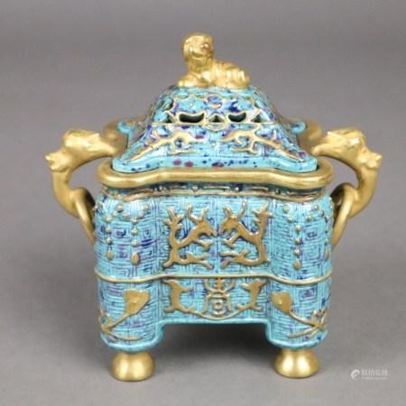 Kleines Räuchergefäß nach dem Vorbild antiker Bronzen - China, ausgehende Qing-Dynastie,