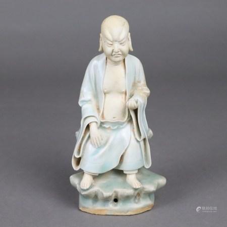 """Kleine Figur des Luohan Nantimitolo - chin. """"Qingyou Zunzhe"""" bzw. """"Xianglong luohan"""", China,"""