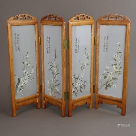 Tisch- oder Fenster-Paravent - China, 20.Jh., vierteilig, hochrechteckige,scharnierte Paneele,