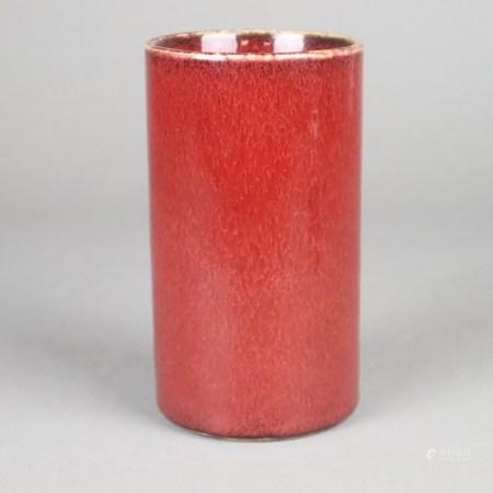 """Pinselbecher - Zylinderform mit sogenannter """"Ochsenblutglasur"""", innen auch weiße Glasur mit feinem"""