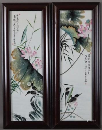 Paar Porzellanbilder - China, in polychromen Aufglasurfarben bemalt mit Lotospflanzen und Vogelpaar,