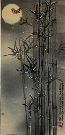 Chinesisches Rollbild - Vogelpaar mit Bambus bei Vollmond, Farben und Tusche auf Papier, in