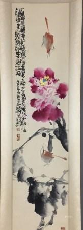 Chinesisches Rollbild - Blühender Baumzweig über felsigem Grund mit Vogelpaar, leichte Farben und