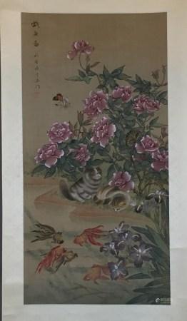 Chinesisches Rollbild - Katzen am Goldfischteich unter blühendem Päonienbusch, leichte Farben und
