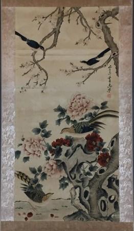 Chinesisches Rollbild - Elstern auf Pflaumenzweigen, darunter Fasanenpaar am Gelehrtenfelsen mit