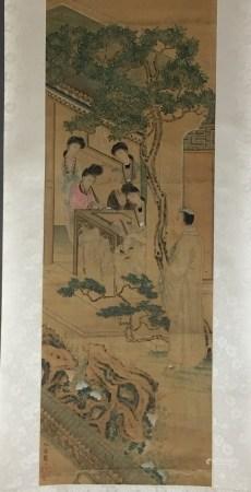 Chinesisches Rollbild - Hofdamen im Gartenpavillon, Tusche und leichte Farben auf Seide, links unten