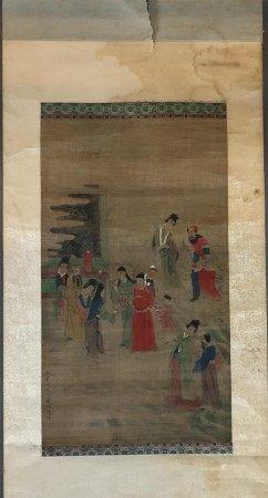 Chinesisches Rollbild - Hofgesellschaft mit Audienzszene, Tusche und leichte Farben auf