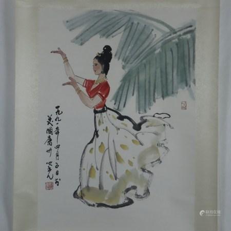 Chinesisches Rollbild - Junge Dame in Tanzpose, Tusche und Farben auf Papier, in chinesischer