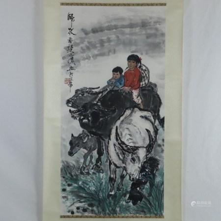 Chinesisches Rollbild - Auf dem Heimweg, Tusche und leichte Farben auf Papier, in chinesischer