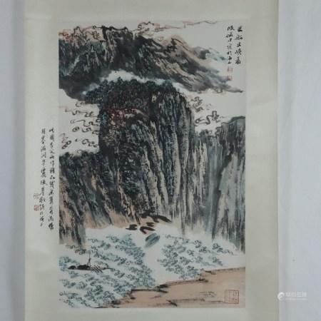 Chinesisches Rollbild - Landschaft mit Wasserfall, Tusche und Farben auf Papier, in chinesischer