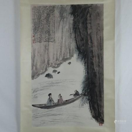 Chinesisches Rollbild - Flusslandschaft mit Männern im Boot, in der Art von Fu Baoshi (1904-1965),