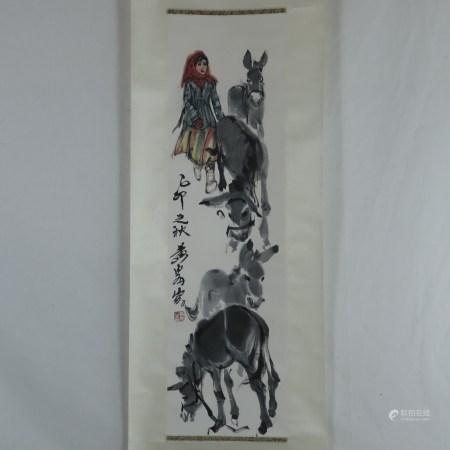 Chinesisches Rollbild - Junges Bauernmädchen mit Eselherde, Tusche und Farben auf Papier, in