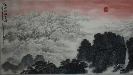 Chinesisches Rollbild - Stimmungsvolle Gebirgslandschaft, Tusche und Farben auf Papier, in