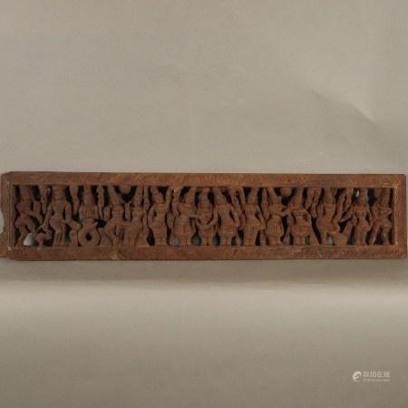 Holzschnitzerei- Indien 19.Jh., durchbrochen geschnitzt, Figurenfries mit Szenen mythologischen