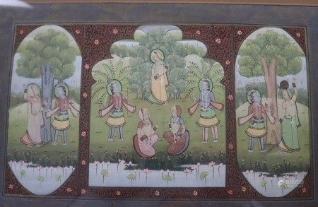 Miniaturmalerei - Indien, Gouache auf Textil , teils goldgehöht, fein ausgeführte szenische