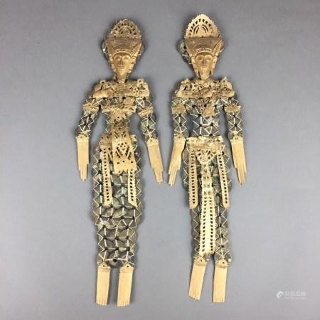 """Paar Münzfiguren """"Rambut Sedana"""" - Bali, Indonesien, Darstellungen vom Gott des materiellen"""