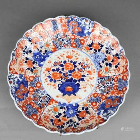 "Imari Teller - Japan,Meiji-Zeit, schwerer Porzellanscherben mit gemaltem ""Imari""-Dekor in"